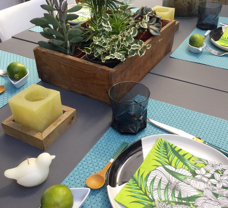 plantes table décoration terrasse vert